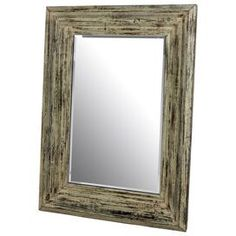 "Weathered wood wall mirror.      Product: Mirror    Construction Material: Wood and mirrored glass    Color: Distressed cream    Features: Can be hung horizontally or verticallyCool, casual style  Dimensions: 48"" H x 36"" W x 3.5"" D"