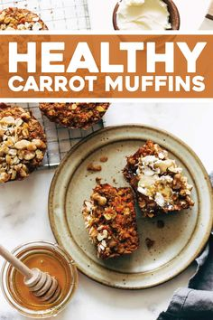 Favorite Carrot Muffins that are warm, cozy, and wholesome! A naturally sweet snacking muffin flecked with tiny bits of carrots and oats, smeared with some butter and honey. Healthy Carrot Muffins, Healthy Muffin Recipes, Healthy Baking, Healthy Snacks, Breakfast Recipes, Dessert Recipes, Breakfast Ideas, Sunday Breakfast, Healthy Deserts