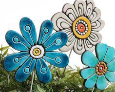 Flower garden art - plant stake - garden marker - garden decor - flower ornament - ceramic flower - abstract - teal