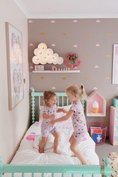 Little Clouds Wall Decals from @urbanwalls - what a fun playful big girl room!