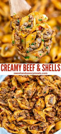 Creamy Beef and Shells is a hearty pasta dish that is perfect for a quick dinner. Creamy Beef and Shells is a hearty pasta dish that is perfect for a quick dinner for the whole family! It is rich, flavorful, and cheesy and even kids will love it! Beef Dishes, Hamburger Meat Dishes, Easy Meals With Hamburger Meat, Beef Meals, Crockpot Meals, Ground Beef Recipes, Casseroles With Ground Beef, Healthy Recipes, Healthy Hamburger Recipes