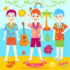 Hawaii clip art featuring three Hawaiian boys, ukulele and many more. #clipart #vector #design See more at CreamyInk.etsy.com
