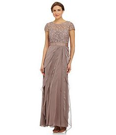 Adrianna Papell Lace Bodice Flutter Gown
