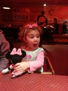 My daughter having fun at dinner