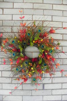 Handmade Peacock Feather Wreath, Fall/Autumn/Thanksgiving Door Wreath, Orange/Rust/Yellow/Red