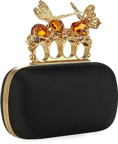 Alexander McQueen satin knuckle box clutch with butterfly and crystal detail
