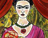 "Frida Kahlo Art, Postcards, Art Prints, ""La Flor de Coyoacan,""  Mexican, Mexico, Latin, Flowers"
