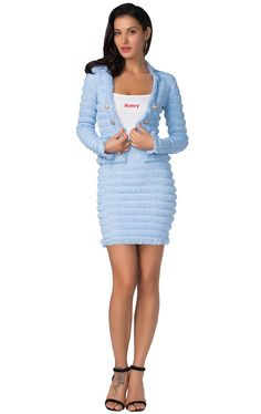 Product Name: Herve Leger Bandage Dress Long Sleeve Jacket Two Piece Jacquard Button Blue Gender: Women Silhouette: Sheath Material: 90% Rayon,9% Nylon,1% Spandex Occasion: Red Carpet Dresses,Oscar Dresses,Party Dress,Cocktail Dress,Club Dress,Daily wear etc Long Sleeve Bandage Dress, Bandage Skirt, Long Sleeve Crop Top, Dress Long, Club Dresses, Oscar Dresses, Macrame Dress, Herve Leger, Red Carpet Dresses
