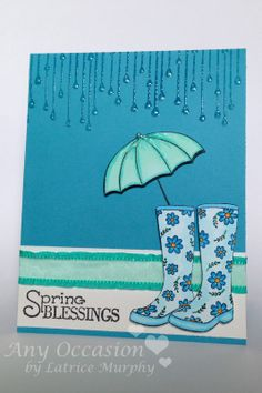 "Penny black Spring cards. Nice bright colours use! ""I stamped along the top with versamark ink and embossed it in clear. I then filled in each raindrop with glossy accents. My umbrella and boots are both colored with Copic markers. I cut them out and gave them 3D squares."""