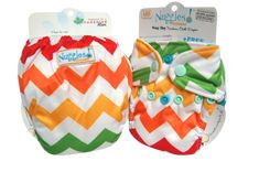 Chevrons & Skittles (Retired Print) - Bittees Stay-dry Newborn AIO Diaper – Nuggles Designs Canada - This is a newborn cloth diaper