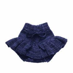 Misha & Puff skating skirt in navy Misha And Puff, Classic Collection, Pleated Skirt, Boho Shorts, Merino Wool, Pond, Hand Knitting, Skate, Tights