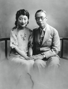 Puyi, last Emperor of China, with his consort Wan Rong, last Empress of China, in Tianjin, China, ca. 1922