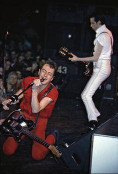 Joe Strummer and Mick Jones of the Clash perform at the Santa Monica Civic Auditorium, March 3, 1980.