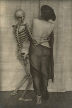 vintage everyday: Dancing with Devil – 25 Horror Vintage Pictures of People Posing Intimately with Skeletons