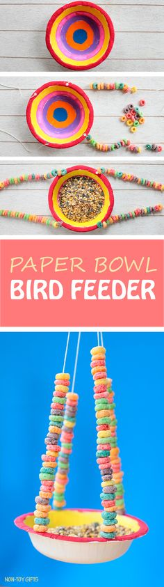 Paper bowl bird feeder for kids to make this spring. This kid-made bird feeder is perfect for preschoolers and kindergarten. Kids will get a chance not only to watch and study birds in their own backyard but also express their creativity through painting and work on their fine motor skills. Fun spring craft. | at Non-Toy Gifts