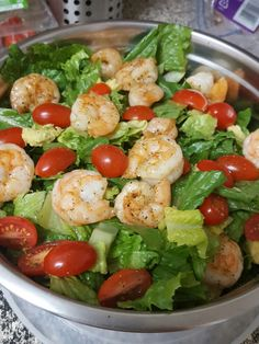 Shrimp and avocado with tomatoes and cilantro Salad