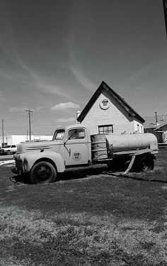 Route 66. A veteran Ford pickup truck outside the restored Phillips 66 gas station in McLean, Texas, along old Rt. 66. Fine Art photography.