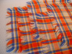 Hey, I found this really awesome Etsy listing at https://www.etsy.com/listing/156211819/orange-blue-and-yellow-plaid-napkins-set