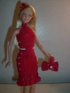 """Crochet for Barbie (the belly button body type): """"Ribbons and Bows"""" Christmas Barbie dress and bow wristlet/clutch"""