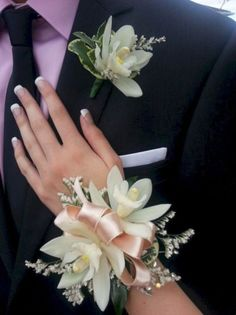prom flowers Prom Corsage and Boutonniere in Peabody . Prom Corsage And Boutonniere, Groom Boutonniere, Boutonnieres, Wrist Corsage Wedding, Corsage For Prom, Corsage Formal, Calla Lily Boutonniere, Orchid Corsages, Flower Corsage