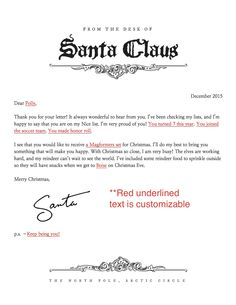 Letter from santa templates free printable santa letters letter from santa spiritdancerdesigns Gallery
