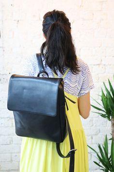 Leather Rectangle Backpack Black - THE WHITEPEPPER