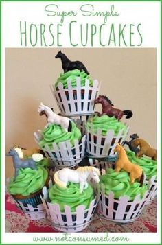 Super Simple Horse Cupcakes anyone can make! Plus many other horse party ideas. by annabelle