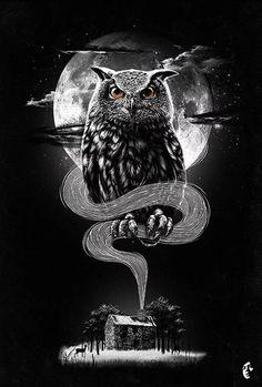Inspiring graphics of the day - owl designs Owl Tattoo Design, Tattoo Designs, Hannya Samurai, Owl Tattoo Drawings, Bird Tattoos, Feather Tattoos, Owl Artwork, Owl Wallpaper, Owl Photos