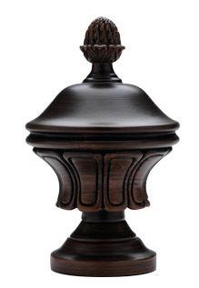"Roman in Mocha chocolate brown finish color finial- Custom Select Wood Curtain Drapery Rod Set 1-3/8"" inch diameter: made in the USA! Any finish color form black, walnut, bronze, mahogany, mocha, vintage gold, oak and white : Shorter or extra long wide width for window, patio doors or french door application : sold as a set with all brackets, finials"