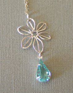 Silver Flower and Sapphire Jewel Necklace   by BeadCoutureBySteph, $30.00
