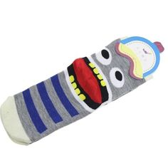 JUMEAUX Print Big Tongue Teeth Women In Tube Socks Colorful Striped Cotton Cartoon Short Socks For Women Children Girl