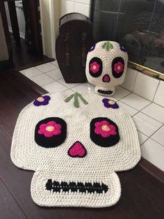 Crochet Sugar Skull Pillow by PeanutButterDynamite on Etsy