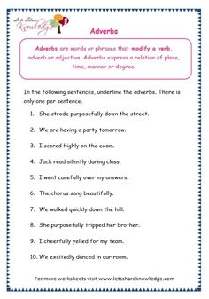 Grade 3 Grammar Topic Adverbs Worksheets - Lets Share Knowledge Teaching English Grammar, English Grammar Worksheets, Grammar Lessons, English Pronouns, English Prepositions, Grammar Tips, Parts Of Speech Worksheets, Worksheets For Grade 3, Printable Worksheets