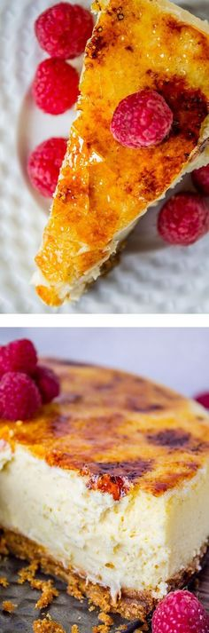 Crème Brûlée Cheesecake - Two of the best desserts known to man, combined in one. It's a thick, custard-y, vanilla-y cheesecake with a gingersnap crust and a crunchy, not-quite-burnt caramel shell on top.