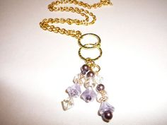 Long Gold Necklace with Hoops Glass Beads by BlissfulVine on Etsy, $37.00