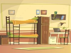 Full size of college apartment desk ideas vector cartoon student dormitory room interior background template apartments Scenery Background, Living Room Background, Cartoon Background, Animation Background, 2d Game Background, Video Background, Dormitory Room, Student Dormitory, Anime Backgrounds Wallpapers