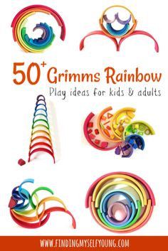 Finding Myself Young: Ways to Play with a Grimms Rainbow. Learn new ways to build, stack and sort with the Grimms wooden rainbow stacker. Rainbow Activities, Montessori Activities, Fun Activities For Kids, Infant Activities, Kids Fun, Grimm's Toys, Grimms Rainbow, Man Candy Monday, Rainbow Invitations