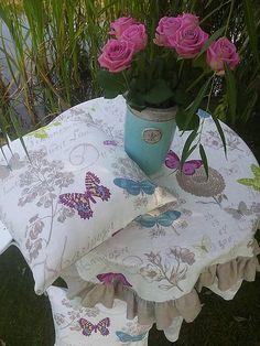 Linen pillow cases www.sashe.sk/shabby.romantic  / Ľanová obliečka Butterfly