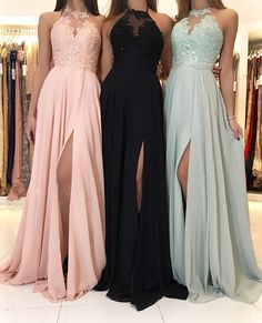Charming Lace Halter Long Chiffon Split Evening Gowns Formal Prom Dresses sold by Hot Lady on Storenvy Pretty Prom Dresses, Hoco Dresses, Lace Evening Dresses, Ball Dresses, Evening Gowns, Formal Dresses, Chiffon Dresses, Lace Chiffon, Halter Prom Dresses Long