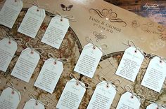 Vintage Style World Map Wedding Table Plan