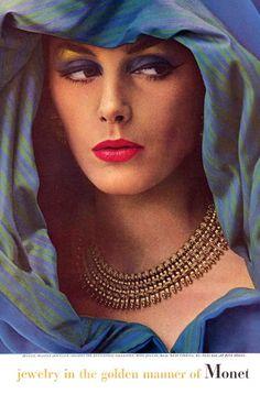 1962 Monet fashion jewelry with model Lucinda Hollingsworth
