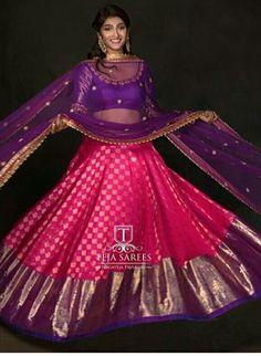 Lehenga Choli Wedding, Half Saree Lehenga, Lehenga Gown, Anarkali, Sarees, Half Saree Designs, Lehenga Designs, Saree Blouse Designs, Indian Dresses