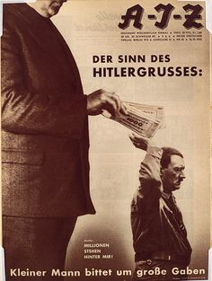 John Heartfield's The Meaning of the Hitler Salute: Little man asks for big gifts. Motto: Millions Stand Behind Me! Tristan Tzara, Photomontage, Metropolitan Museum, Motto, John Heartfield, Hans Richter, George Grosz, Francis Picabia, Bitten