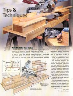 DIY Portable Miter Saw Stand - Miter Saw Tips, Jigs and Fixtures | WoodArchivist.com