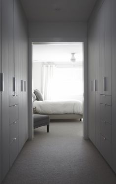 white interior, bedroom, wardrobe - House Plans, Home Plan Designs, Floor Plans and Blueprints Hallway Closet, Master Bedroom Closet, Bedroom Wardrobe, Master Bedroom Design, Closet Doors, Bedroom Designs, Closet Space, Master Suite, Walk In Closet Design