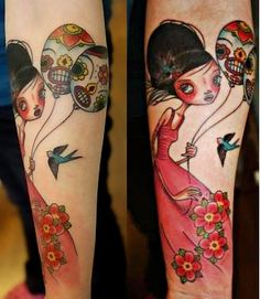 Sugar skull balloons. Fantastic ink. Artist unknown. Original art Caia Koopman