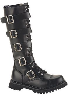 20 eyelet 5 strap steel toe black leather knee boots with 1 1/2 inch heel. $167.18
