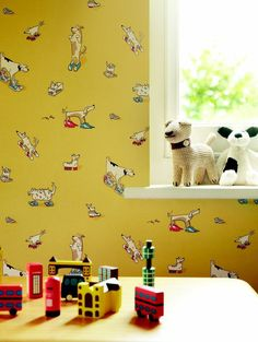 This cartoon style collection of dogs in shoes wallpaper design is quirky, fun and not just for kids. Dogs in Clogs is from the new Abracazoo collection by Sanderson.