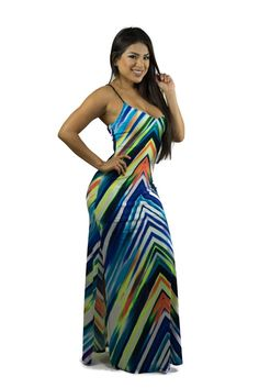 3095925443d Margot Maxi Dress with colorful stripes. Crisscrossing straps and double  fabric in the breast area