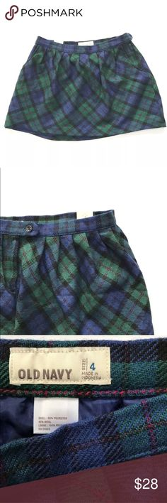 "Old Navy Tartan Plaid Mini Skirt Schoolgirl Grunge Old Navy Tartan Plaid Mini Skirt  Size: 4  Color: Blues, Green, Black, Pink/ Purple  Across Waist: 14.5""  Length: 13.5""  Features: Lined, Side Button Close, Pleated, Pockets  #180212-2937-A:11-27 Old Navy Skirts Mini"